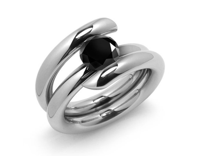 1ct Black Onyx High Setting Bypass Tension Set Ring in Stainless Steel