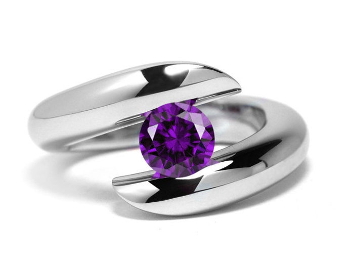 1ct Amethyst Ring Bypass Tension Set Mounting in Stainless Steel