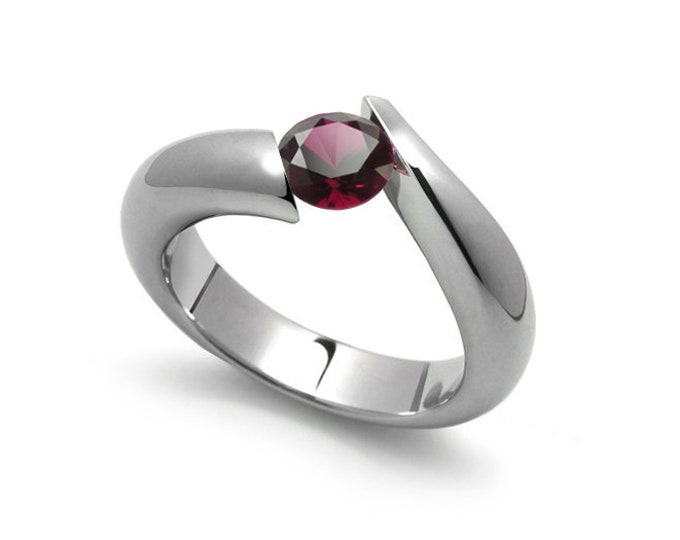 1ct Bypass Garnet Tension Set Ring in Two Tone Stainless Steel