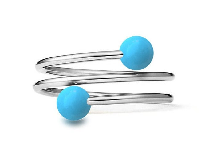 Turquoise triple wire Ring in Stainless Steel Multi row
