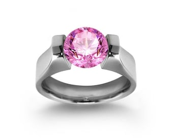 2ct Pink Sapphire High setting Tension Set Engagement Ring by Taormina Jewelry