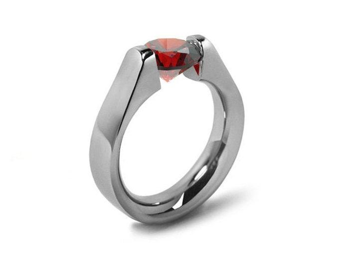 1.5ct Garnet High setting Tension Set Engagement Ring