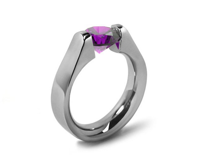 1.5ct Amethyst High setting Tension Set Engagement Ring by Taormina Jewelry