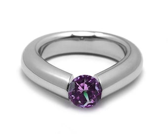 1ct Amethyst Engagement Tension High Setting Ring in Stainless Steel