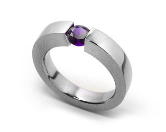 1ct Amethyst Mens Two Tone Tension Set ring Modern Style by Taormina Jewelry