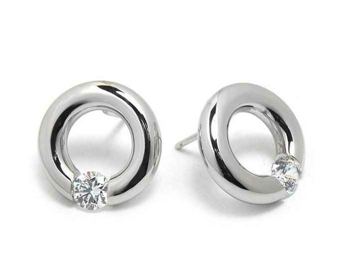 White Sapphire Stud Post Tension Set Circle Earrings in Steel Stainless