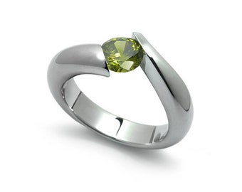 1ct Bypass Peridot Tension Set Ring in Two Tone Stainless Steel by Taormina Jewelry