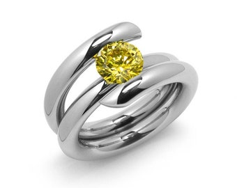 2ct Yellow Sapphire High Setting Bypass Tension Set Ring in Stainless Steel