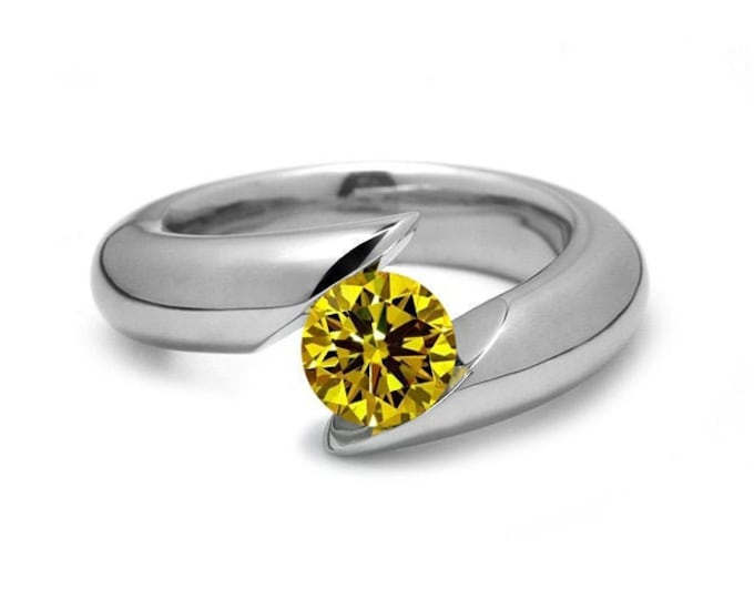 1ct Yellow Sapphire Bypass Tension Set Ring in Stainless Steel by Taormina Jewelry