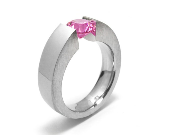 1ct Pink Sapphire Men's Two Tone Tension Set ring Modern Style by Taormina Jewelry