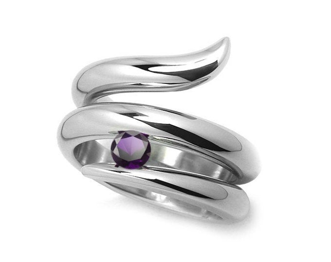 0.50ct Amethyst Tension set Statement Snake shaped Ring in Stainless Steel by Taormina Jewelry