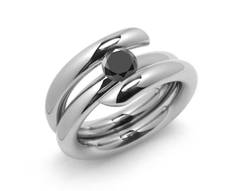 1ct Black Onyx High Setting Bypass Tension Set Ring in Stainless Steel by Taormina Jewelry