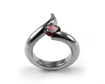 1ct Garnet Bypass Swirl Tension Set Ring in Stainless Steel by Taormina Jewelry