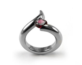 1ct Garnet Bypass Swirl Tension Set Ring in Stainless Steel
