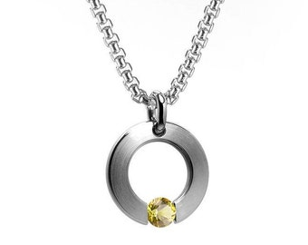Yellow Sapphire Tension Set Round Circle Pendant in Stainless Steel