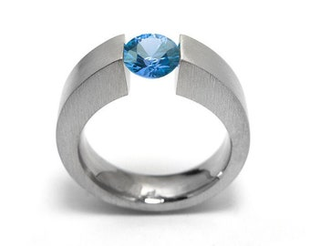 1ct Blue Topaz Ring Tension Set Mounting in Stainless Steel