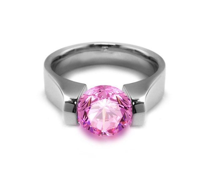 1.5ct Pink Sapphire High setting Tension Set Engagement Ring by Taormina Jewelry