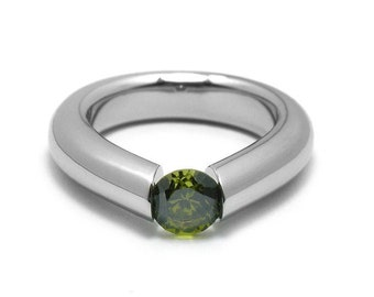 1ct Peridot Engagement Tension High Setting Ring in Stainless Steel by Taormina Jewelry