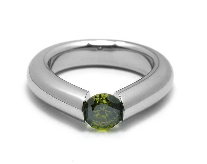 1ct Peridot Engagement Tension High Setting Ring in Stainless Steel