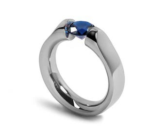 1ct Blue Sapphire Ring Tension Set Mounting in Stainless Steel by Taormina Jewelry