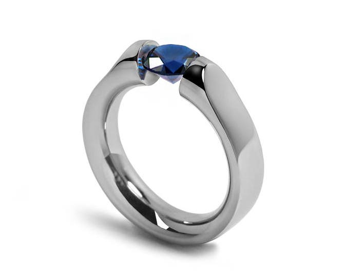 Blue Sapphire Ring Tension Set Mounting in Stainless Steel