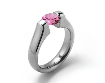 Engagement Tension Ring with 2ct, 1.5ct, 1ct and 0.75 Pink Sapphire High Tension Setting