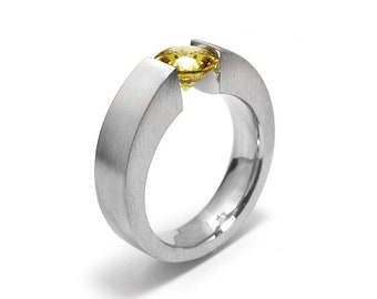 1.5ct Yellow Sapphire Ring Tension Set Mounting in Stainless Steel