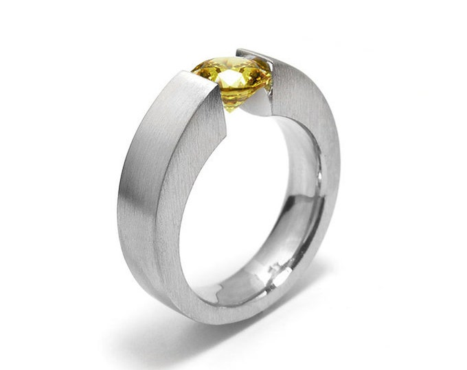 1 ct 1.5 and 2ct Yellow Sapphire Mens Two Tone Tension Set ring Modern Style