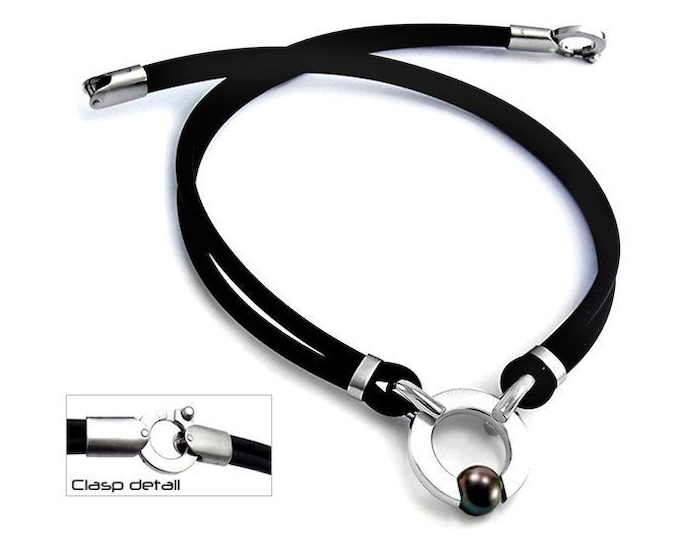 Black Pearl Rubber and Stainless Steel Necklace Tension Set by Taormina Jewelry