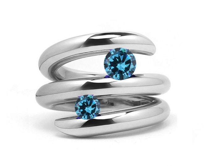 Two Blue Topaz Double row Bypass Tension Set Ring in Stainless Steel