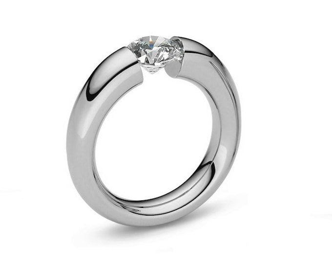 1.5ct  White Sapphire Tapered Engagement tapered Tension Set Ring in Stainless Steel
