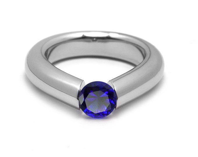 1.5ct Blue Sapphire Engagement Tension High Setting Ring in Stainless Steel by Taormina Jewelry