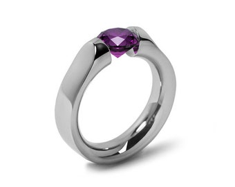 1ct Amethyst Tension Set Ring Comfort Fit Stainless Steel