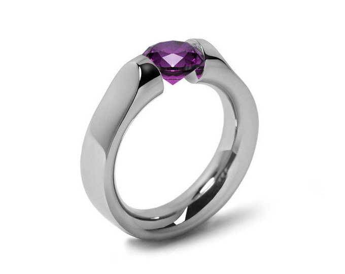 1ct Amethyst Tension Set Ring Comfort Fit Stainless Steel by Taormina Jewelry
