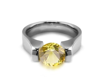 1.5ct Yellow Sapphire Tension Set Ring Comfort Fit Stainless Steel by Taormina Jewelry