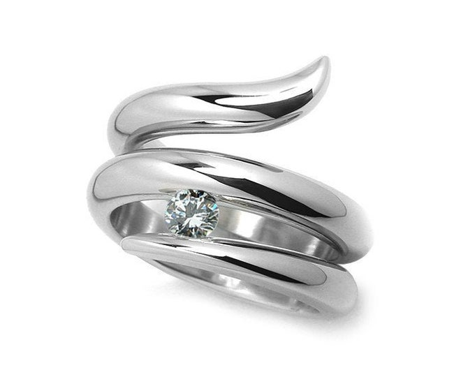 0.50ct White Sapphire Tension set Statement Snake shaped Ring in Stainless Steel by Taormina Jewelry