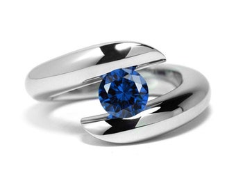 1ct Blue Sapphire Ring Bypass Tension Set Mounting in Stainless Steel