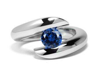 1ct Blue Sapphire Ring Bypass Tension Set Mounting in Stainless Steel by Taormina Jewelry