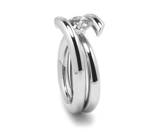 2ct White Sapphire High Setting Bypass Tension Set Ring in Stainless Steel