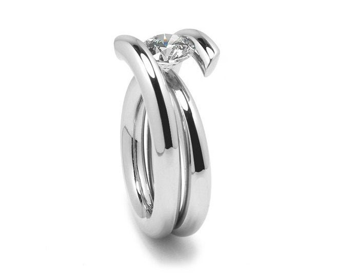 1.5ct White Sapphire High Setting Bypass Tension Set Ring in Stainless Steel by Taormina Jewelry