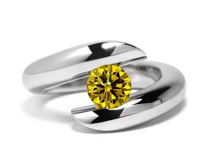 1ct Yellow Sapphire Ring Bypass Tension Set Mounting in Stainless Steel by Taormina Jewelry