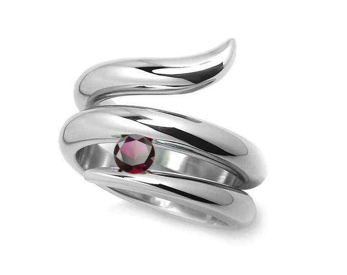 0.50ct Garnet Tension set Statement Snake shaped Ring in Stainless Steel