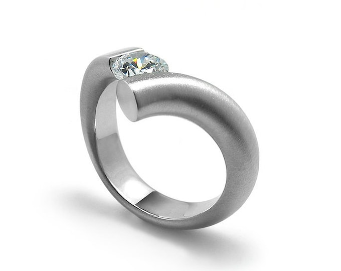 1ct Moissanite Bypass Tension Setting Engagement Ring Stainless Steel