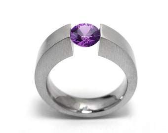 1 ct 1.5 and 2ct Amethyst Two Tone Tension Set ring Modern Style