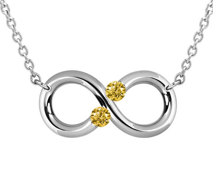 Infinity Necklace with Yellow Sapphires Tension Set in Steel Stainless by Taormina Jewelry