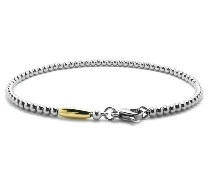 4 mm Thin Stainless Steel & Gold Beads Bracelet by Taormina Jewelry