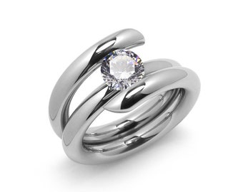 2ct White Sapphire High Setting Bypass Tension Set Ring in Stainless Steel by Taormina Jewelry