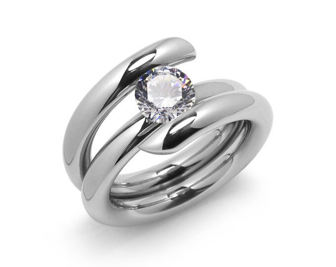 1ct White Sapphire High Setting Bypass Tension Set Ring in Stainless Steel by Taormina Jewelry