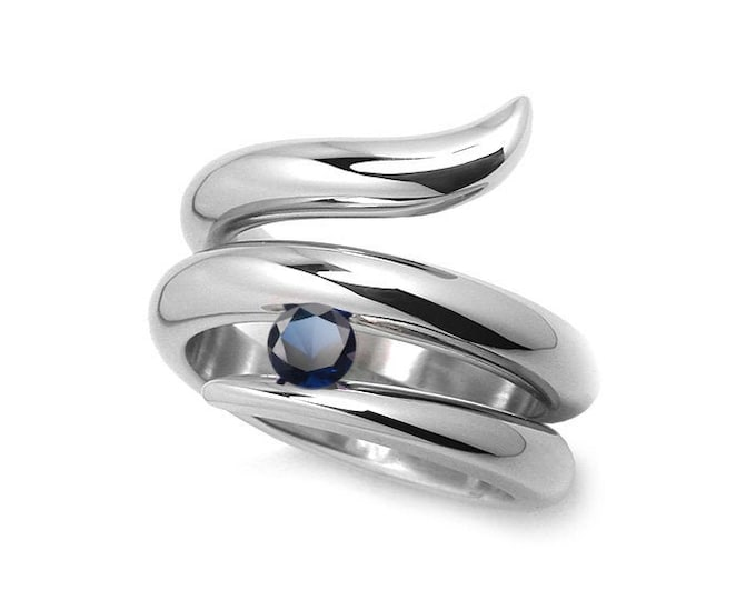 0.50ct Blue Sapphire Tension set Statement Snake shaped Ring in Stainless Steel by Taormina Jewelry