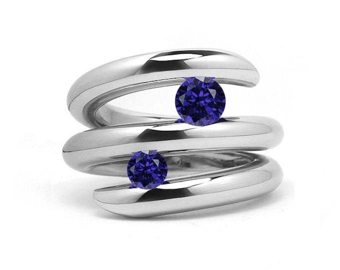 Two Blue Sapphire double row bypass tension set ring in stainless steel